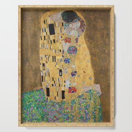 Gustav Klimt, The Kiss (Lovers), 1908 - Reproduction under Belvedere, Vienna, Creative Commons License CC BY-SA 4.0 Serving Tray