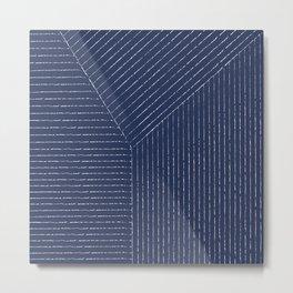 Lines (Navy) Metal Print