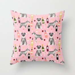 Schnauzer wine champagne cocktails rose dog breed pattern Throw Pillow
