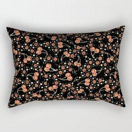 Wild Cherries Field , Woodcut Style Fruit Pattern Illustration Red on Black Rectangular Pillow