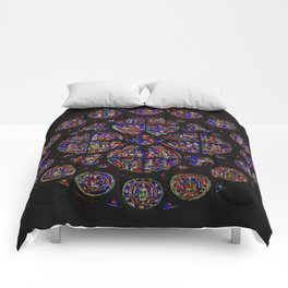 Stained Glass Rose Window 1 Comforters