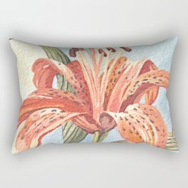Orange Tiger Lily Watercolor Painting Rectangular Pillow