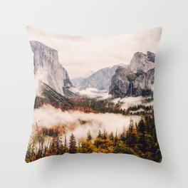 Amazing Yosemite California Forest Waterfall Canyon Throw Pillow