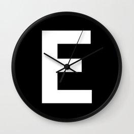 Letter E (White & Black) Wall Clock