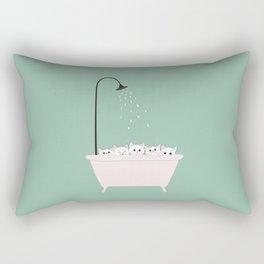 5 Little White Kittens in Bathtub Rectangular Pillow