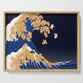 Shiba Inu The Great Wave in Night Serving Tray
