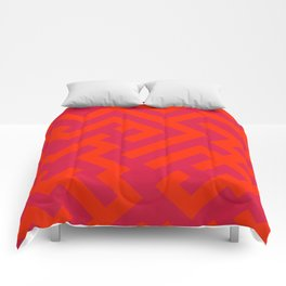 Scarlet Red and Crimson Red Diagonal Labyrinth Comforters
