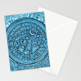 New Orleans Water Meter Louisiana Crescent City NOLA Water Board Metalwork Blue Stationery Cards