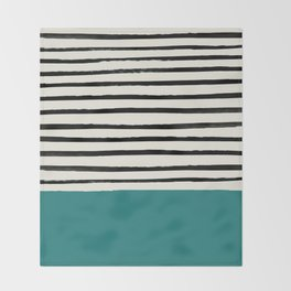 Teal x Stripes Throw Blanket