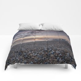 Hythe Beach at Sunset Comforters