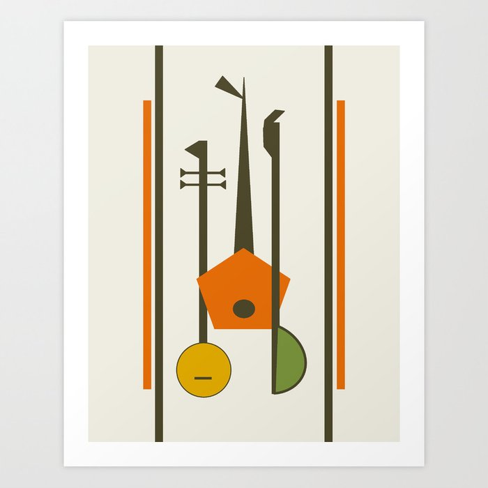 Mid-Century Modern Art Musical Strings Art Print