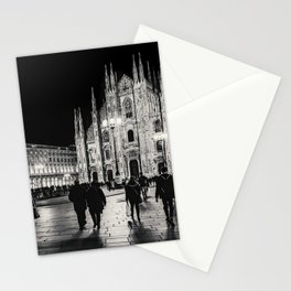 Black and White Duomo Piazza Night Scene, Milan City, Italy Stationery Cards