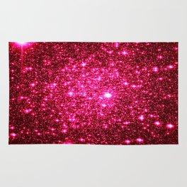 Hot Pink Glitter Galaxy Stars Rug