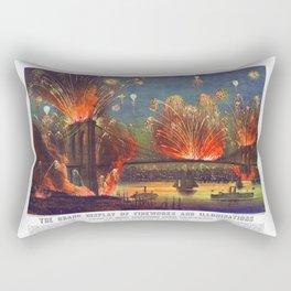 NEW YORK FIREWORKS city old map Father Day art print poster Rectangular Pillow