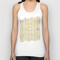 shower Tank Tops featuring Gold Herringbone by Cat Coquillette