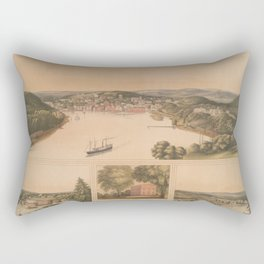 Vintage Pictorial Map of Norwich CT (1854) Rectangular Pillow