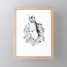 Unicorn floral art Framed Mini Art Print