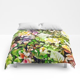 Scattered Blooms And Verdure Comforters