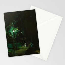 Central Park, Summer Night, Riverside Drive landscape by George Wesley Bellows Stationery Cards