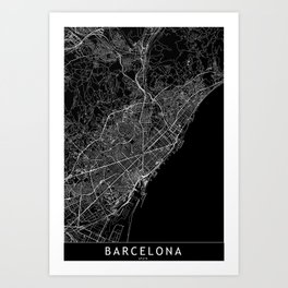 Barcelona Black Map Art Print