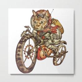 Berserk Steampunk Motorcycle Cat Metal Print