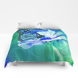 Butterfly, Flower And Leaves Comforters