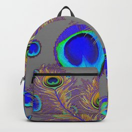 PEACOCK FEATHERS BLUE FEATHER EYES PATTERNS  ON GREY Backpack