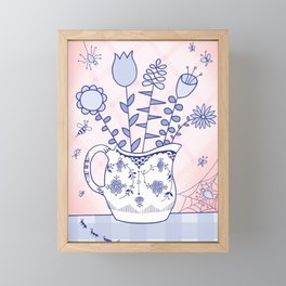 Spring Bouquet with Bugs Framed Mini Art Print