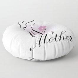 Pregnant mother holding a pink lotus flower- mom to be Floor Pillow