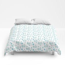 Rub a dub dub, bubbles and a bathtub (white) Comforters