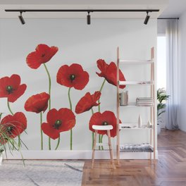 Poppies Field white background Wall Mural