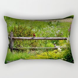 Robin in Garden Rectangular Pillow