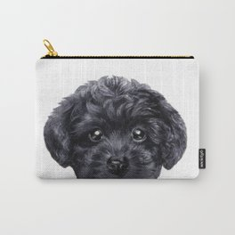 Black toy poodle Dog illustration original painting print Carry-All Pouch