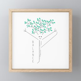 Funny drawing of a tree practicing yoga Framed Mini Art Print