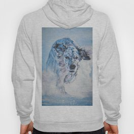 English Setter in Snow dog art from an original painting by L.A.Shepard Hoody