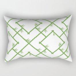 Bamboo Chinoiserie Lattice in White + Green Rectangular Pillow