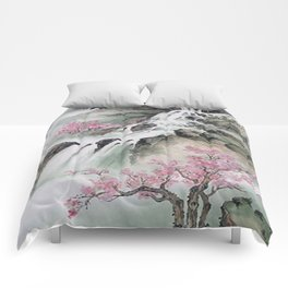 WATERFALLS AND MOUNTAIN LANDSCAPE Comforters