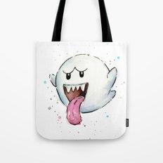 Boo Ghost Mario Watercolor Videogame Geek Painting Tote Bag