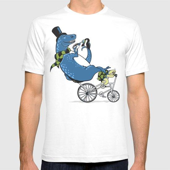 Tandem T-Rex Tastes Tea with Tucan, as Turtle Toils T-shirt