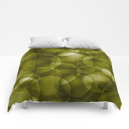 Dark intersecting translucent olive circles in bright colors with an oily glow. Comforters