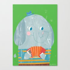 Elephant Accordion Player Canvas Print