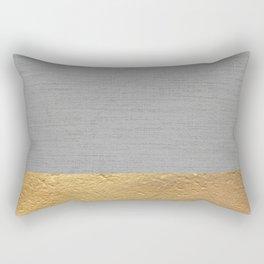 Color Blocked Gold & Grey Rectangular Pillow