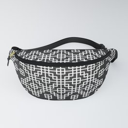 Chinese style grid pattern in black & white Fanny Pack