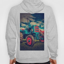 Cool Blue Red Vintage Tractor Hoody