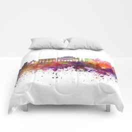 Catania skyline in watercolor background Comforters