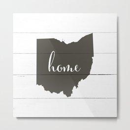 Ohio is Home - Charcoal on White Wood Metal Print