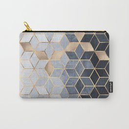 Soft Blue Gradient Cubes Carry-All Pouch
