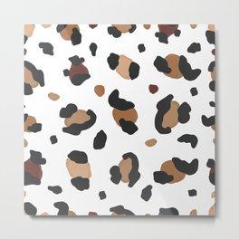 454-Cute leopard hand drawn pattern Metal Print