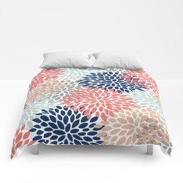 Floral Bloom Print, Living Coral, Pale Aqua Blue, Gray, Navy Comforters