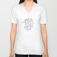 pocketfuel V-neck T-shirts featuring SHE WILL NOT FALL by Pocket Fuel